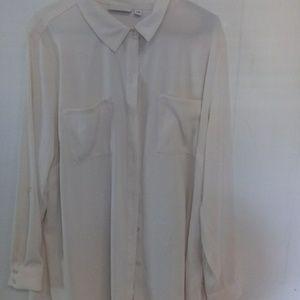 Susan Graver cream button down shirt